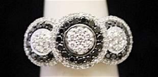 Gorgeous Silver Ring with Black White Diamonds