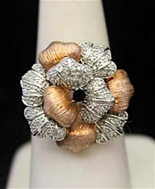 Fancy Silver Ring with Black White Diamonds