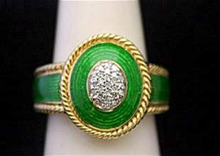 Gorgeous 14kt over Silver Ring with Emerald Enamel