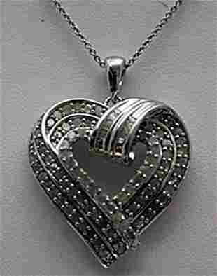 Gorgeous Silver Heart Shape Necklace with Diamonds