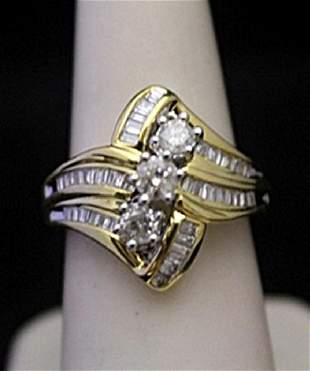 Beautiful 14kt over Silver Ring with Diamonds