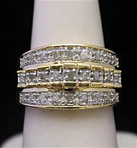 Fancy 14kt over Silver Ring with Diamonds