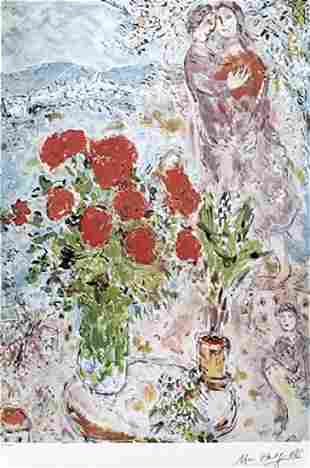 Red Bouquet with Lovers Marc Chagall Lithograph