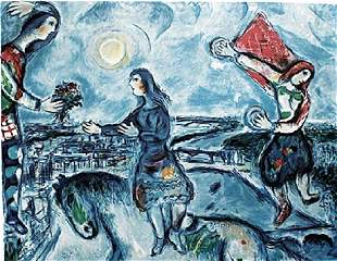 Lovers Over Paris Signed - Marc Chagall - Lithograph