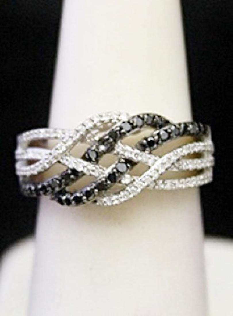 Gorgeous Silver Cocktail Ring with Black White