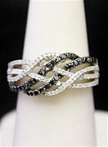 Gorgeous Silver Cocktail Ring with Black & White