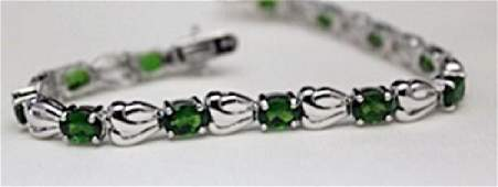 Gorgeous Silver Bracelet with Russian Chrome Diopside