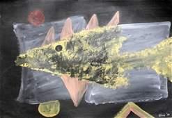Fish Antoni Clave Oil On Paper