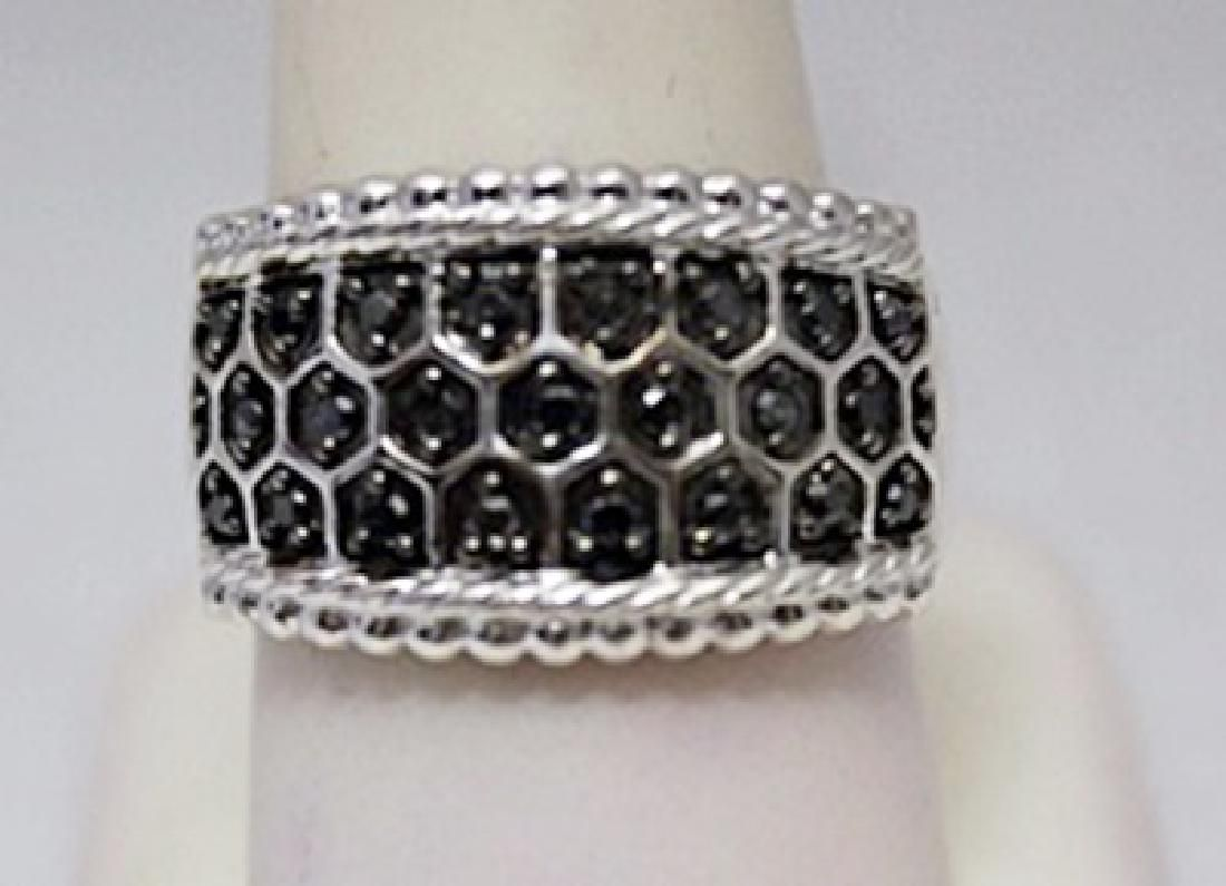 Elegant Unisex Black Diamonds Silver Ring