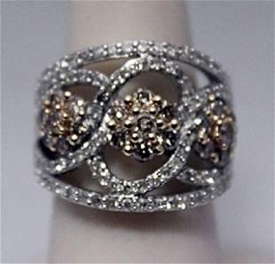 Fancy Champagne White Diamonds Silver Ring
