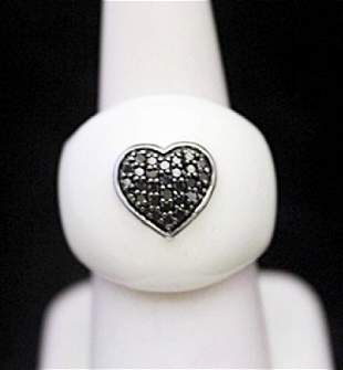 Gorgeous Silver Ring with Mother of Pearl Heart Shape