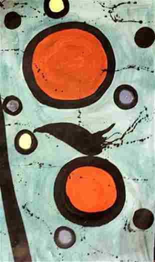 The Galaxy Joan Miro Oil On Paper