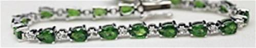 Fancy Silver Bracelet with Russian Chrome Diopside