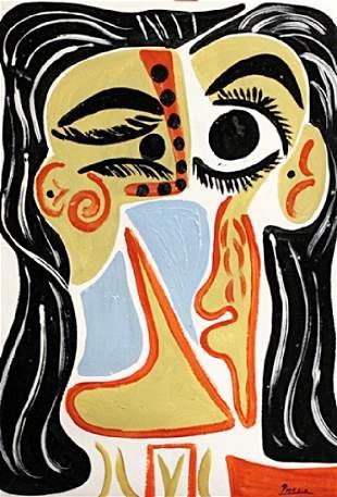 Tete De Femme Pablo Picasso Oil On Paper