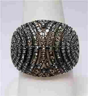Gorgeous Champagne Diamonds Silver Ring
