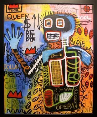 Jean Michel Basquiat - Oil On Canvas