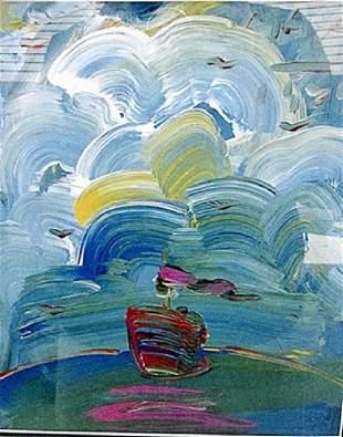 Sailboat Painting Peter Max Lithograph
