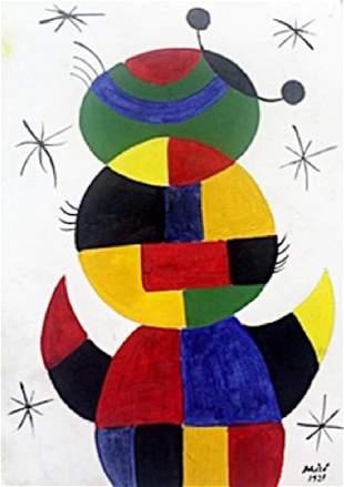 Oil Painting on Paper Joan Miro