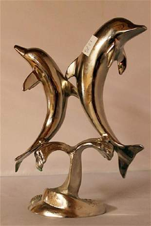 Dolphins Silver Sculpture
