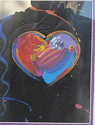 Black Series Heart Peter Max Lithograph
