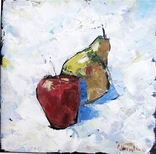 Apple Pear Acrylic On Canvas