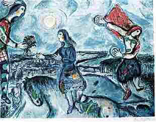 Lovers Over Paris Signed Marc Chagall Lithograph