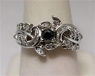 Fancy Black White Baguette Diamonds Silver Ring