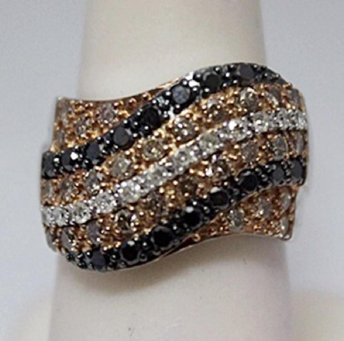 Gorgeous Black, Champagne & White Diamonds Silver Ring