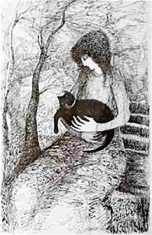 Lithograph Girl With Cat Barbara A Wood