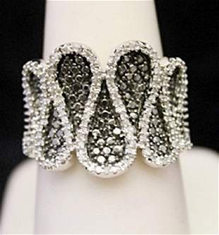 Very Fancy Silver Cocktail Ring with Black White