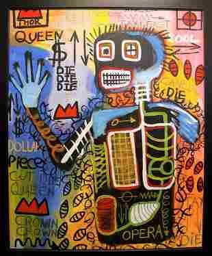 Jean Michel Basquiat Oil On Canvas