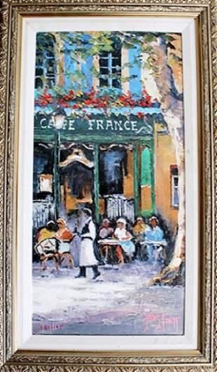 Caf France James Pratt Giclee on Canvas