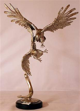 Dominate Eagle - Silver Sculpture with Marble Base