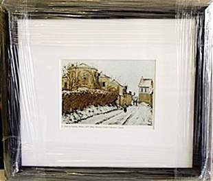 Framed Lithograph Winter In the style of Pissarro
