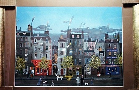 """By Delacroix """"Town Scene"""" lithograph (2012)"""