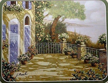 """By Borelli """"Garden Courtyard"""" lithograph (2015)"""