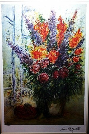 """By Chagall """"Bouquet w/bowl of Cherries"""" Ltd. Ed."""