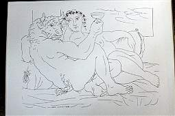 """""""Drinking minataus"""" Lithograph By Pablo Picasso(75DC)"""