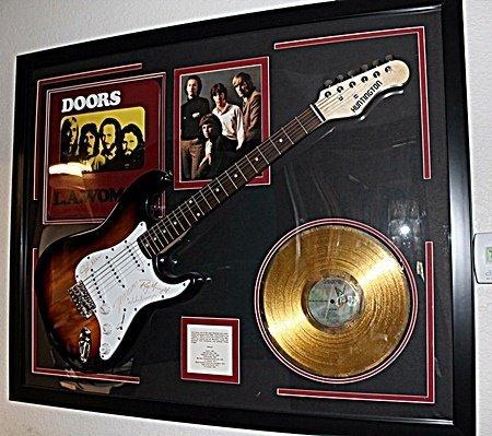 Rare The Doors Signed Guitar with Gold Album and Album