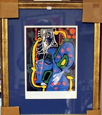 Framed By Picasso-Seated Woman Lithograph (8BO)