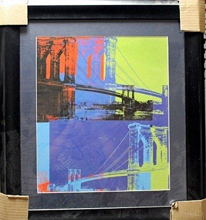 Framed By Andy Warhol-Brooklyn Bridge, (orange, blue,