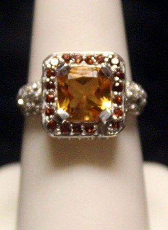 Beautiful Golden Citrine with Rubies SS Ring