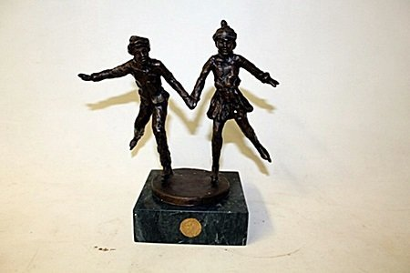 """Bronze Sculpture """" Together On The Glass """" By Dennis"""