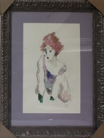 Framed Watercolor Painting in manner of Egon Shiele