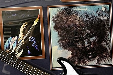 Jimi Hendrix Signed Guitar with Bio, Photo and Gold - 2