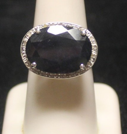 Gorgeous Dark Ruby with Diamonds SS Ring