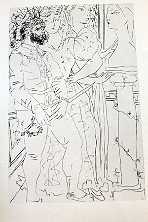 """Lithograph """"Three Customer Figueres"""" after Pablo"""