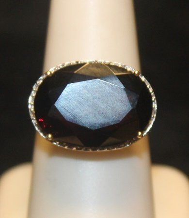 Beautiful Sapphire with Diamonds SS Ring
