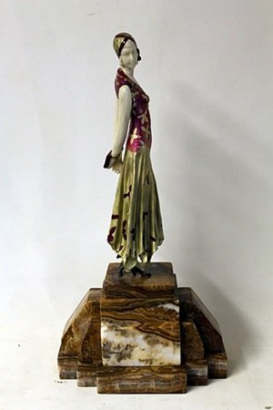 """Bronze and Ivory Sculpture """"Book Lady"""" after D.H."""