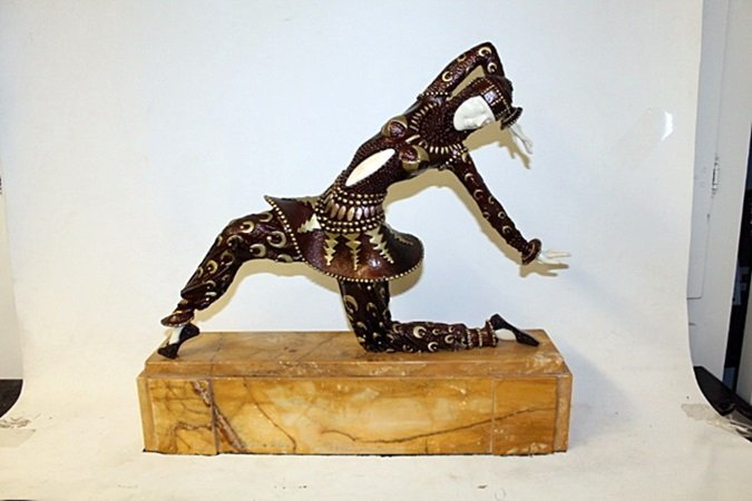 """Bronze and Ivory Sculpture """"Karmona"""" after D.H."""